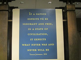 "Jefferson Memorial - Jefferson warns that a nation cannot be ""ignorant and free."""