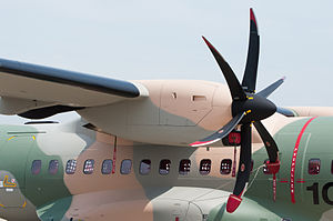 Pratt & Whitney Canada PW100 - PW127G engine on a CASA C-295 aircraft at Paris Air Show 2013
