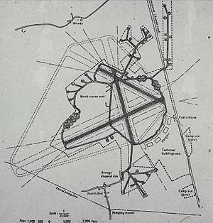 Class A airfield - RAF Bassingbourn in 1945. The Frying-Pan and Spectacle Loop aircraft dispersals are easy to identify