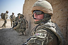 RAF Regiment gunners conducting a routine patrol near to Camp Bastion in Afghanistan during 2011.
