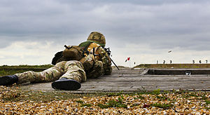 No. 504 Squadron RAF - A reservist Gunner with 504 (County of Nottingham) Squadron, Royal Auxiliary Air Force fires a machine gun during two weeks Annual Continuous Training at Hythe Range Complex.
