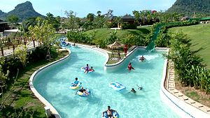 Lazy river - The lazy wave river at Ramayana Water Park in Pattaya, Thailand