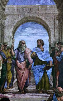 Leonardo als Platon, Ausschnitt aus Raffaels Fresko Die Schule von Athen (Quelle: Wikimedia)