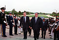 Rafic Hariri escorted by Donald Rumsfeld, 2002.jpg