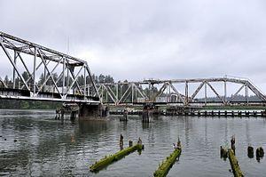 Reedsport, Oregon - Railway bridge over the Umpqua River at Reedsport