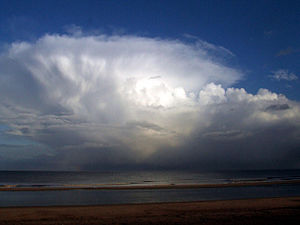 English: rain clouds Looking out to sea at the...