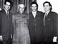 Raj Kapoor, Dilip Kumar and Dev Anand with Prime Minister Jawaharlal Nehru.jpg