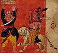 Rajastan, devi che attacca un demone, dalla gloria della dea (devimahatmya), sirohi 1630 ca (cropped).jpg