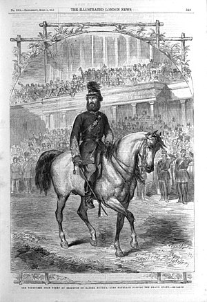 Volunteer Force - Thomas Heron Jones, 7th Viscount Ranelagh leading the Volunteer gathering in Brighton, 1863, depicted in the Illustrated London News
