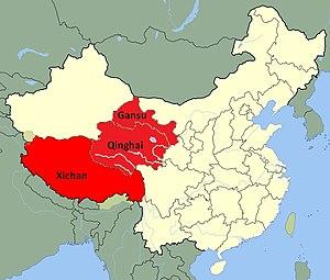 Tibetan wolf - Image: Range of Canis lupus filchneri in China