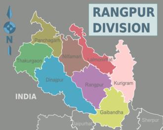 Rangpur Division - Image: Rangpur Division districts map