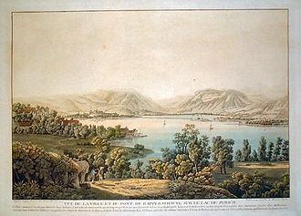 Kempraten - Rapperswil, Kempraten, Holzbrücke Rapperswil-Hurden and upper Lake Zürich (1791)
