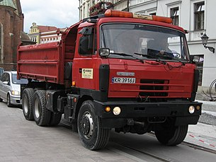 Red Tatra dump truck during reconstruction of Plac Wszstkich Świętych and Dominikańska streets in Kraków.jpg