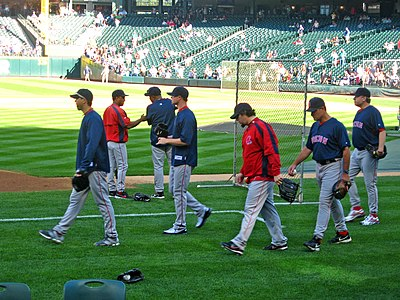 Pitchers (left-right) Josh Beckett, Jon Lester, Eric Gagne, pitching coach John Farrell and Curt Schilling, prior to a Red Sox game at Seattle in August 2007 Redsoxpitchers.jpg