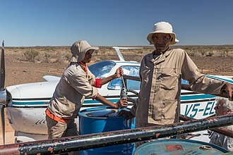 Bush flying - Refuelling an aircraft in the field at Simplon, Namibia (2018)