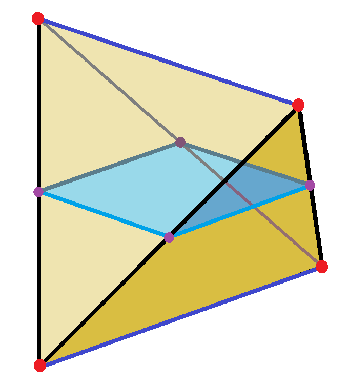 Regular tetrahedron square cross section