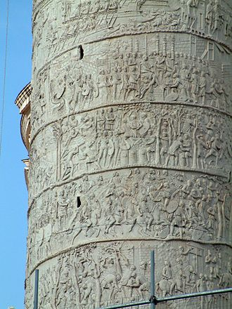 Imperial Roman army - Section of Trajan's Column, Rome, showing the spiral friezes that represent the best surviving evidence of the equipment of imperial Roman soldiers