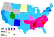 Plurality of religious preference by state, 2001. Data is unavailable for Alaska and Hawaii.