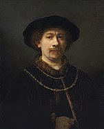 Rembrandt Harmensz. van Rijn - Self-portrait wearing a Hat and two Chains - Google Art Project.jpg