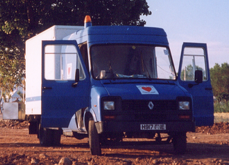 "Dodge 50 Series - Renault Dodge 50 ""B56"" (5600kg) with crew-cab and box body, formerly of British Gas, seen here working for Aid Convoy on a humanitarian project to the former Yugoslavia."