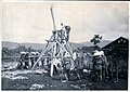 Revivalistic traditional civil engineering work in Japan, Taisho era - Raising a Pole in Japan (1912 by Elstner Hilton).jpg