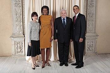 Ricardo Martinelli with Obamas