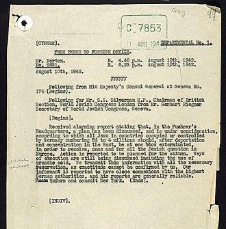 Gerhart M. Riegner - The telegram as described.