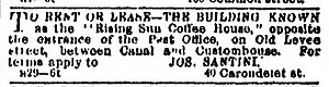 "The House of the Rising Sun - 1867 ad noting the ""Rising Sun Coffee House"" building for rent or lease"