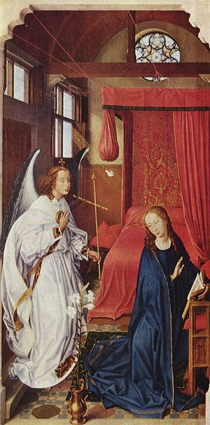 Annunciation (Memling) - Left panel of Rogier van der Weyden's Saint Columba altarpiece, c. 1455, Alte Pinakothek, Munich. The rays of light stream through the open window toward the Virgin's ear.
