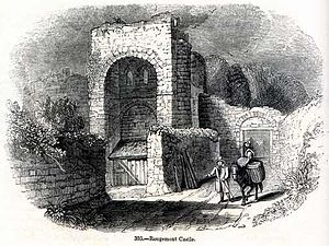 Rougemont Castle - A 19th-century engraving of Rougemont Castle from Charles Knight's Old England: A Pictorial Museum, 1845