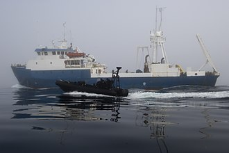 Law enforcement in Canada - Royal Canadian Mounted Police assigned to a Marine Security Emergency Response Team maneuver their boat after boarding a ship during Frontier Sentinel 2012 in Sydney, Canada, May 8, 2012 120508-N-HN353-287