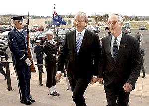Australian Prime Minister Kevin Rudd (middle) ...
