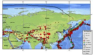 Kamchatka earthquakes - Image of earthquakes occurring in and around Russia since 1900. Note that most of this seismicity is in the Kamchatka area.