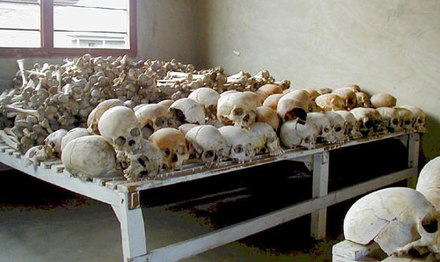 Rwandan Genocide: Genocide victims in Murambi Technical School. Estimates put the death toll of the Rwandan Genocide as high as 800,000 people. Rwandan Genocide Murambi skulls.jpg