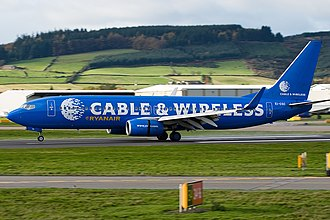 Cable & Wireless plc - Image: Ryanair Boeing 737 800 Cable and Wireless logojet
