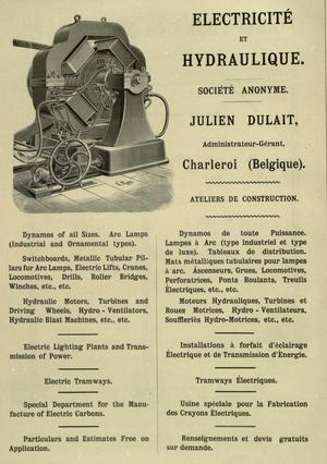 Ateliers de Constructions Electriques de Charleroi - Électricité et Hydraulique advert (1897)