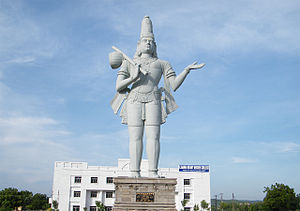 Annamacharya - 10-story tall statue of Sri Tallapaka Annamacharya located at the entrance of Tallapaka.