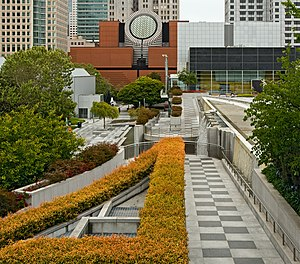 Yerba Buena Gardens - Walkways in Yerba Buena Gardens (with SFMOMA in the background)