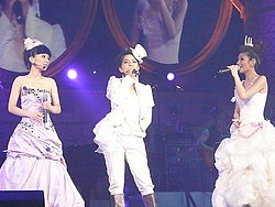 Hebe, Ella e Selina (da sinistra a destra) ad Hong Kong durante il Perfect 3 World Tour