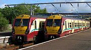 Class 334 trains in SPT livery at Gourock