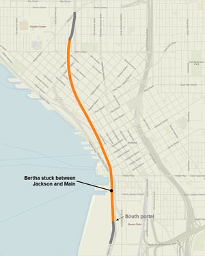 Bertha (tunnel boring machine) - Route map of the Alaskan Way Viaduct replacement tunnel showing location where the tunnel boring machine became stuck on December 6, 2013.