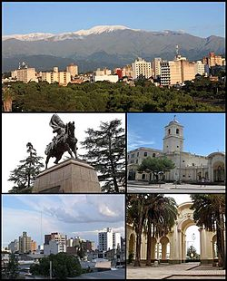 (From top to bottom; from left to right) View of the city; Monument to Belgrano; Cathedral of St. Francis; Downtown and Patio of the Cathedral Church