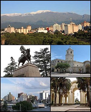 San Salvador de Jujuy - (From top to bottom; from left to right) View of the city; Monument to Belgrano; Cathedral of St. Francis; Downtown and Patio of the Cathedral Church
