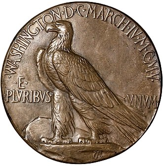 Indian Head eagle - Saint-Gaudens's 1905 inaugural medal reverse contains a standing eagle similar to that which would later be used on the ten-dollar piece.