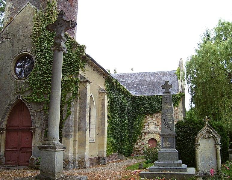 Church and war memorial in Saint-Germain-de-Livet, departement Calvados, Basse-Normandie, France.