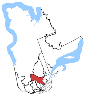 Saint-Maurice—Champlain - Saint-Maurice—Champlain in relation to other Quebec federal electoral districts