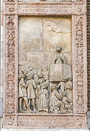 Sant'Anastasia (Verona) - Façade panel with St. Peter of Verona.