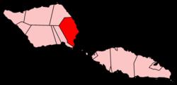 Map of Samoa showing Faʻasaleleaga district