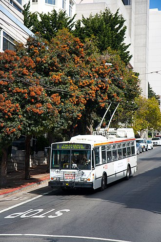 Electric Transit, Inc. - An ETI 14TrSF trolleybus descending a hill in San Francisco