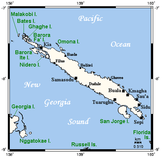 Santa Isabel Island - Map of Santa Isabel, neighboring islands, and towns and villages